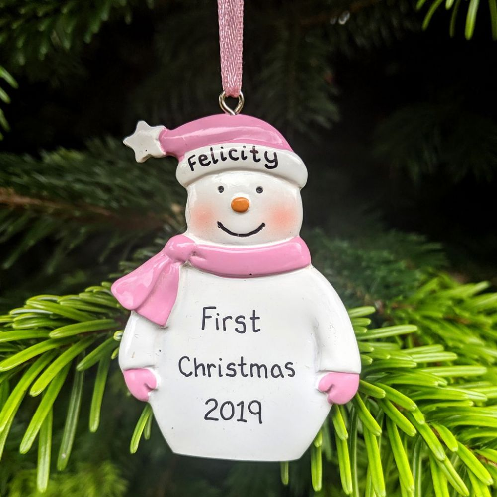 Personalised Snowman with Pink Hat & Scarf